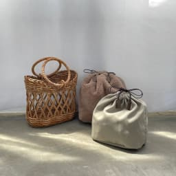 Cachellie/カシェリエ アラログ 透かし編み かごバッグ 2種類の巾着付き