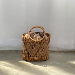 Cachellie/カシェリエ アラログ 透かし編み かごバッグ フェイクファーの巾着をセット