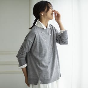 イタリア糸 ウールオーバーサイズ プルオーバー 写真