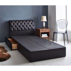 【レンタル仮申込】LeClass/ルクラス レザー引き出し付きベッド ベッドフレームのみ ダブルサイズ幅149cm