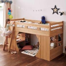 【レンタル仮申込】アルダー天然木システムベッド(書棚・ローデスク・ベッド3点セット)