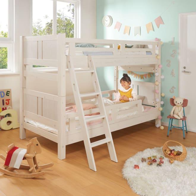 【レンタル仮申込】頑丈がっちりすのこベッドシリーズ 2段ベッド ショート コーディネート例 ※写真はレギュラータイプです。※写真の子供の身長は約107cmです。※お届けは、ショートタイプです。