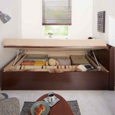 【レンタル仮申込】国産マットレス付きガス圧横開きベッド レギュラー長さ208・セミダブル幅120cm