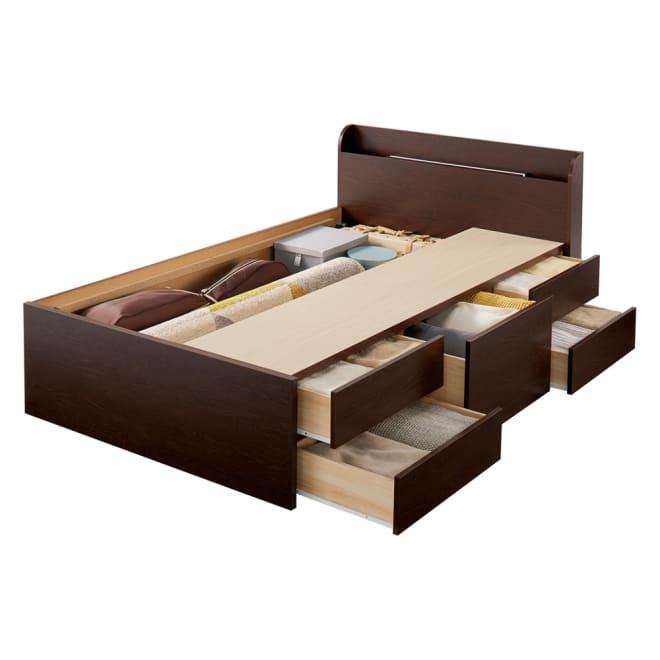 【レンタル仮申込】寝そべりながらタブレットが使えるベッド フレームのみ セミダブル (イ)ダークブラウン(床板取り外し時)