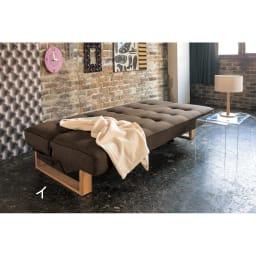 【レンタル商品】ツイード調ソファベッド 幅188cm [ベッド時]ダークブラウン