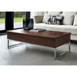 【レンタル商品】収納スペース付き リフトアップセンターテーブル [通常時]ウォルナット (通常時 高さ37cm)