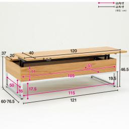 【レンタル商品】収納スペース付き リフトアップセンターテーブル