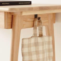 【レンタル商品】Vilhelm(ヴィルヘルム) ウェーブシリーズ デスク 幅90cm デスクの左右側面に、バッグなどを掛けられるフック各1個付き。