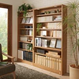 【レンタル商品】美しく本を照らすLED付き 本を愛する人のための書店風本棚 幅80cm コーディネート例(ウ)ブラウン(ライト消灯時) ※お届けは写真左の幅80cmです。