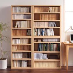 【レンタル商品】組立不要1cmピッチ頑丈棚板本棚 オープンタイプ 幅60奥行29cm 書斎やデスクサイド使いもおすすめです。 コーディネート例(ア)ナチュラル ※左から幅60cmタイプ、幅80cmタイプです。
