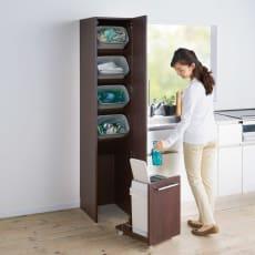 【レンタル商品】組立不要 キッチン分別タワーダストボックス 5分別 ゴミ箱タイプ