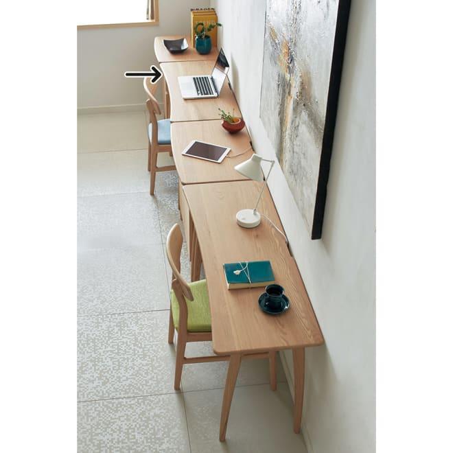 【レンタル商品】Vilhelm(ヴィルヘルム) ウェーブシリーズ デスク 幅90cm ※お届けはデスク幅90cmタイプです。