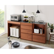 【レンタル商品】組み合わせ自由な大理石調天板キッチンカウンター ウォルナット 幅60cmカウンター