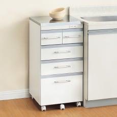 【レンタル商品】収納しやすいステンレストップカウンター 引き出しタイプ幅45cm