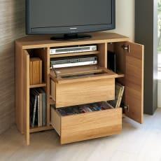 【レンタル商品】天然木調お掃除がしやすいコーナーテレビ台 ハイタイプ 幅90cm