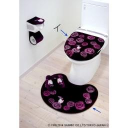 ハローキティローズ 洗浄暖房専用フタカバー&トイレマット イ:ブラウン