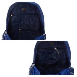 ポロ・ラルフローレン ユースバックパック BASIC YOUTH BACKPACK 内側にはZIPタイプのポケットが2つと、その他、大きさの異なるポケットが4つあり、収納力にも優れています。