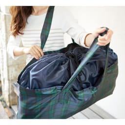 はっ水お昼寝布団バッグ 巾着タイプでサッと開閉!雨も入りにくい。