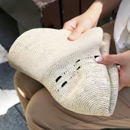 エクアドル製 パナマ細編みハット レディスサイズ 折りたたんでバッグに収納でき持ち運びも簡単