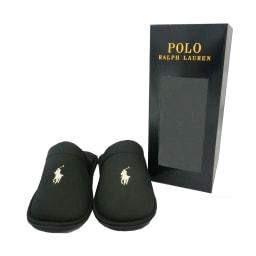 POLO RALPHLAUREN(ポロラルフローレン)/ルームシューズ SUNDAY SCUFF(サンデースカッフ)(24.5-27cm) (ウ)ブラック/BOX入り