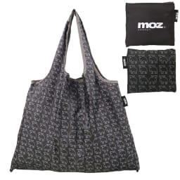 moz(モズ)/折りたたんで便利ショッピングバッグ エルク (カ)総柄ブラック