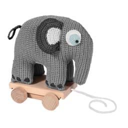 sebra(セバ)/いっしょに行こう編みぐるみプルトイ|おもちゃ (ウ)グレーのぞう