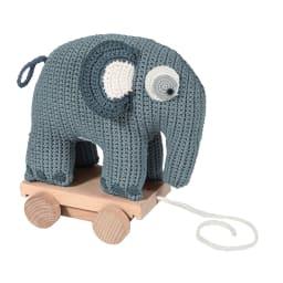 sebra(セバ)/いっしょに行こう編みぐるみプルトイ|おもちゃ (ア)ブルーのぞう