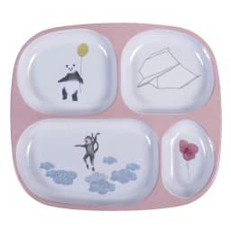 sebra(セバ)/4ルームメラミンプレートスカイ|子供食器 (イ)ローズ