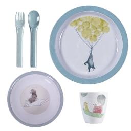 sebra(セバ)/プレート、ボウル、カップ、フォーク・スプーンのディナーギフト4個セット スカイ|子供食器 (ア)ブルー