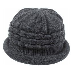 髪型ふんわり蓄熱ニット帽 日本製 (ア)ダークグレー