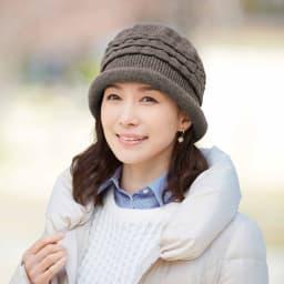 髪型ふんわり蓄熱ニット帽 日本製 (イ)ダークブラウン