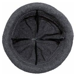 髪型ふんわり蓄熱ニット帽 日本製 (ア)ダークグレー/大きめ頭囲+十字リボン構造