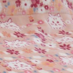 京都西川/かわいいネコ柄 2枚合わせ毛布 (ア)ピンク