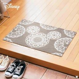 ミッキー/玄関マット レース 50×75cm|Disney(ディズニー) (ウ)グレージュ