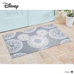 ミッキー/玄関マット レース 75×120cm|Disney(ディズニー) (イ)グレー