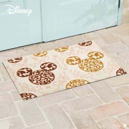 ミッキー/玄関マット ロココ調 50×75cm|Disney(ディズニー) (イ)ブラウン