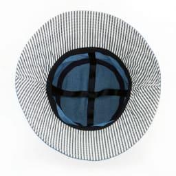 UVデニムハット/髪型ふんわりハット (イ)ブルー/十字リボン構造。