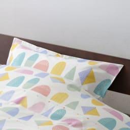 京都西川/夢色とピース柄の枕カバー (ア)ピンク