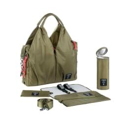 Laessig(レッシグ)/グリーン ネックラインバッグポップ ジップポーチ、保冷保温ボトルホルダー、おむつ替えシート、バギーフック、ショルダーベルト等便利なアクセサリーがセットに