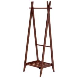 木製折りたたみ式ハンガーラック (イ)ダークブラウン