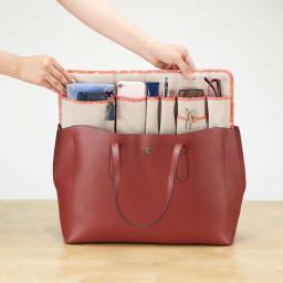COGIT(コジット)/自由自在!サイズが変わるバッグインポケット(ベージュ) 幅広のトートにはそのままのサイズで