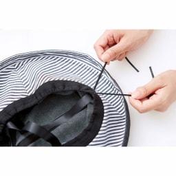 COGIT(コジット)/髪型ふんわりUVカットツバ広デニムハット サイズ調整可能。裏側の十字のリボンが面ではなく線で接するから髪型が崩れにくい。