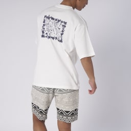 OP(オーシャンパシフィック)/MAPモチーフデザイン メンズTシャツ (ア)ホワイト