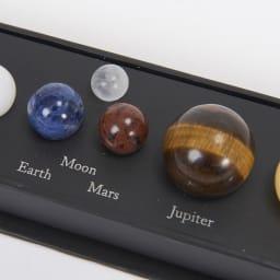 コズミックジェムストーン 太陽系 左から地球、月、火星、木星