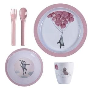 sebra(セバ)/プレート、ボウル、カップ、フォーク・スプーンのディナーギフト4個セット スカイ|子供食器 写真
