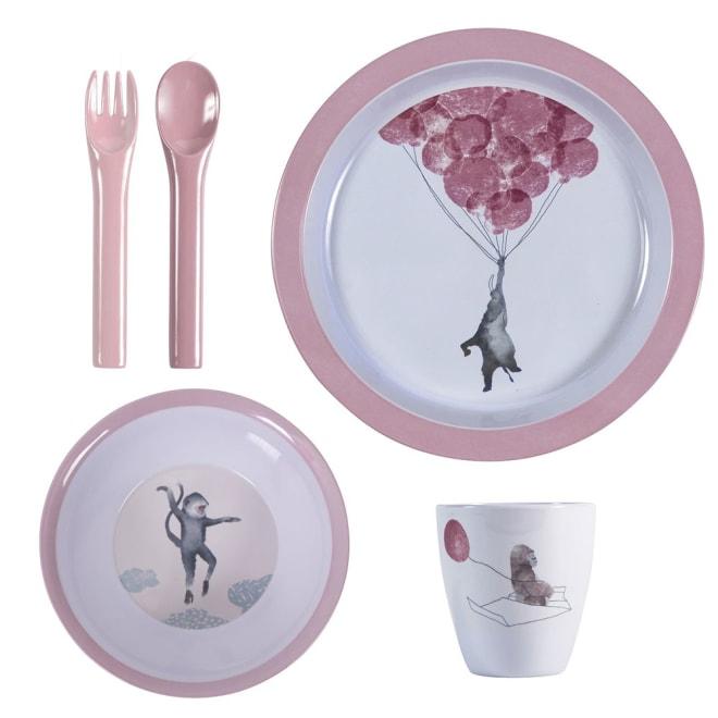 sebra(セバ)/プレート、ボウル、カップ、フォーク・スプーンのディナーギフト4個セット スカイ|子供食器 (イ)ローズ