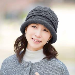髪型ふんわり蓄熱ニット帽 日本製 写真