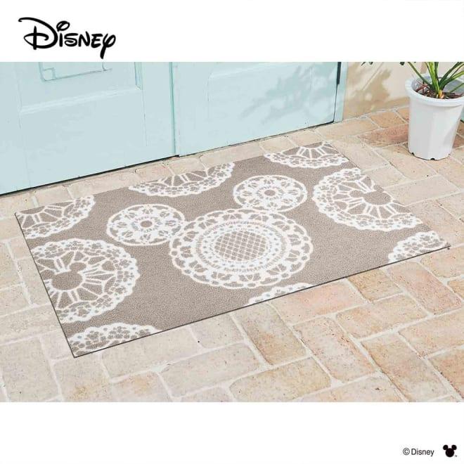 ミッキー/玄関マット レース 75×120cm|Disney(ディズニー) (ウ)グレージュ