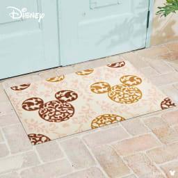 ミッキー/玄関マット ロココ調 60×90cm|Disney(ディズニー) (イ)ブラウン