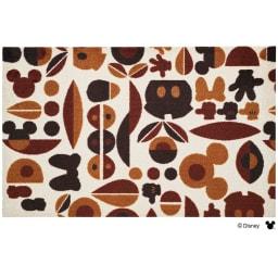 ミッキー&ミニー/玄関マット モチーフ 75×120cm Disney(ディズニー) (ア)ブラウン
